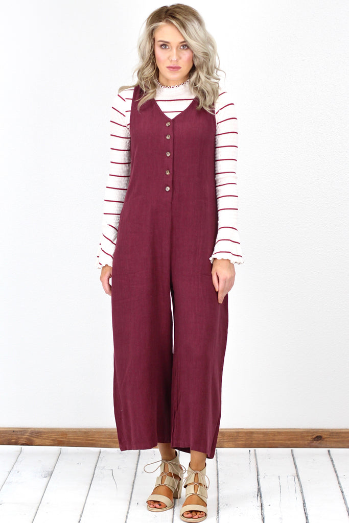 Wide Leg, Button Front Cropped Jumpsuit {Burgundy}