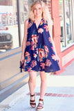 Navy Florals Sleeveless Swing Dress