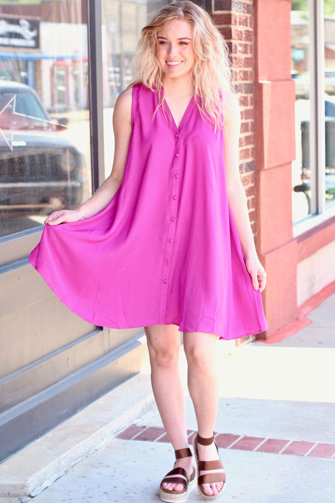 Berry Keyhole + Buttons Sleeveless Swing Dress