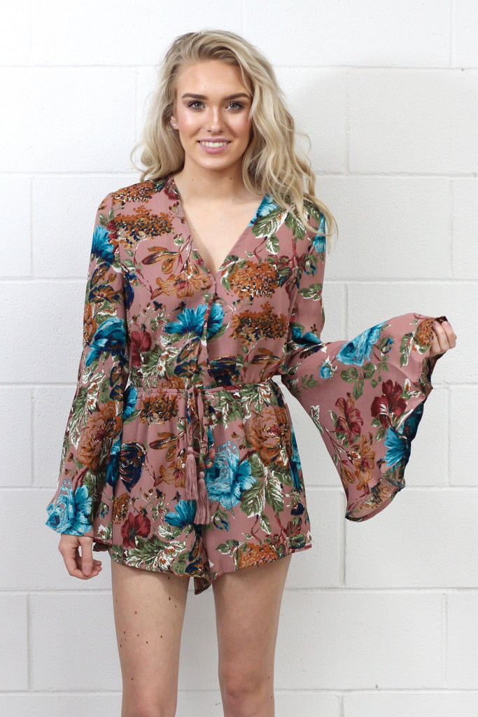 Long Sleeve Bells + Whistles Floral Romper {Dusty Pink}
