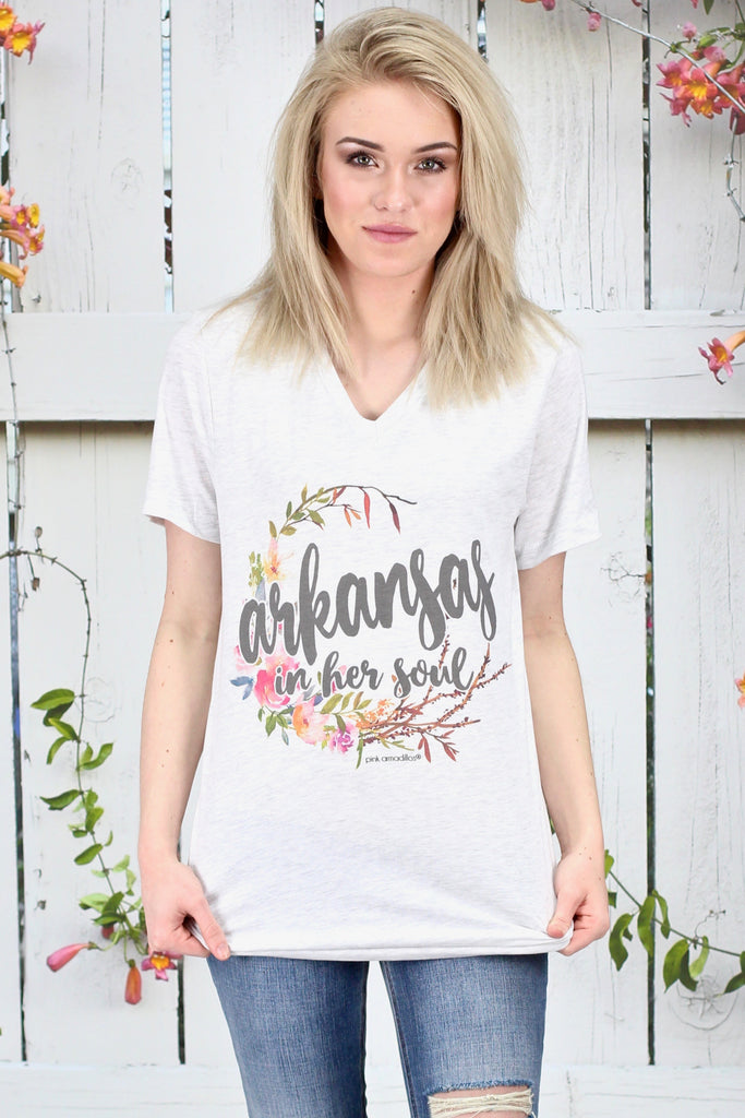 Arkansas in Her Soul Floral V-neck Tee {Ash} - Size XL
