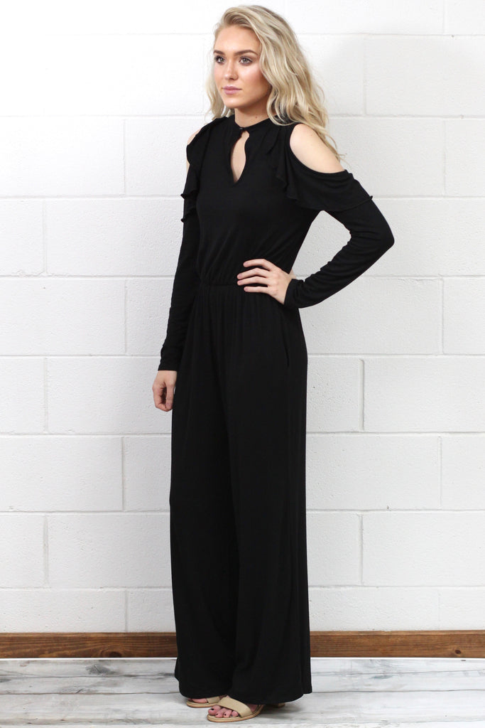 Ruffle Frills Cold Shoulder Jumpsuit {Black}