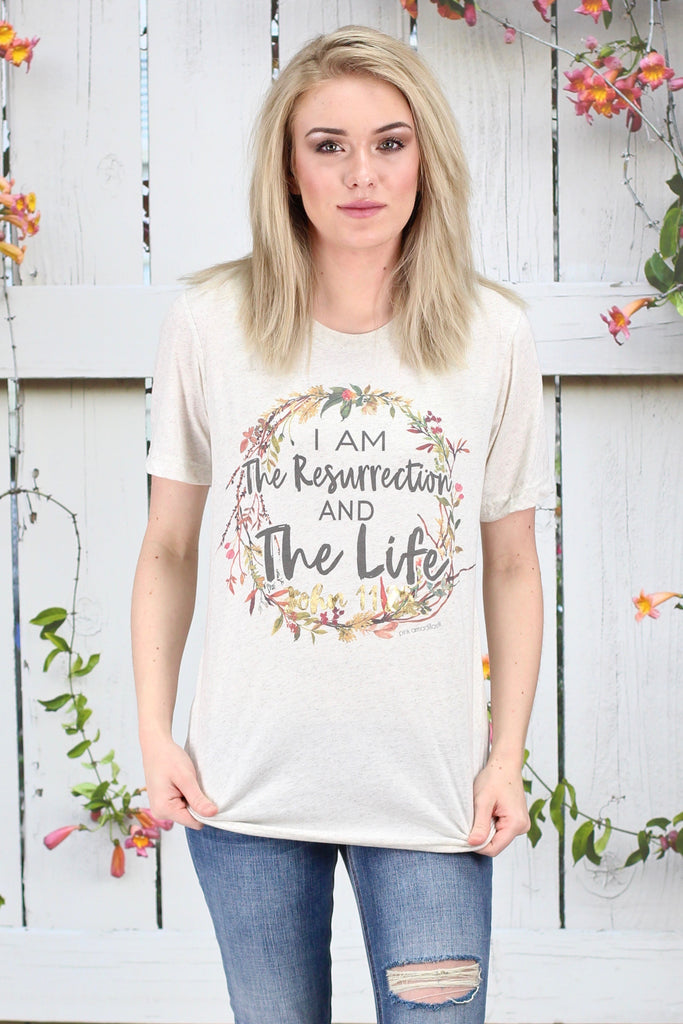 The Resurrection & The Life S/L Tee {Oatmeal} - Size LARGE
