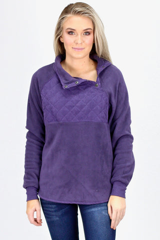 {Natural} Leopard Accented Fleece Pullover