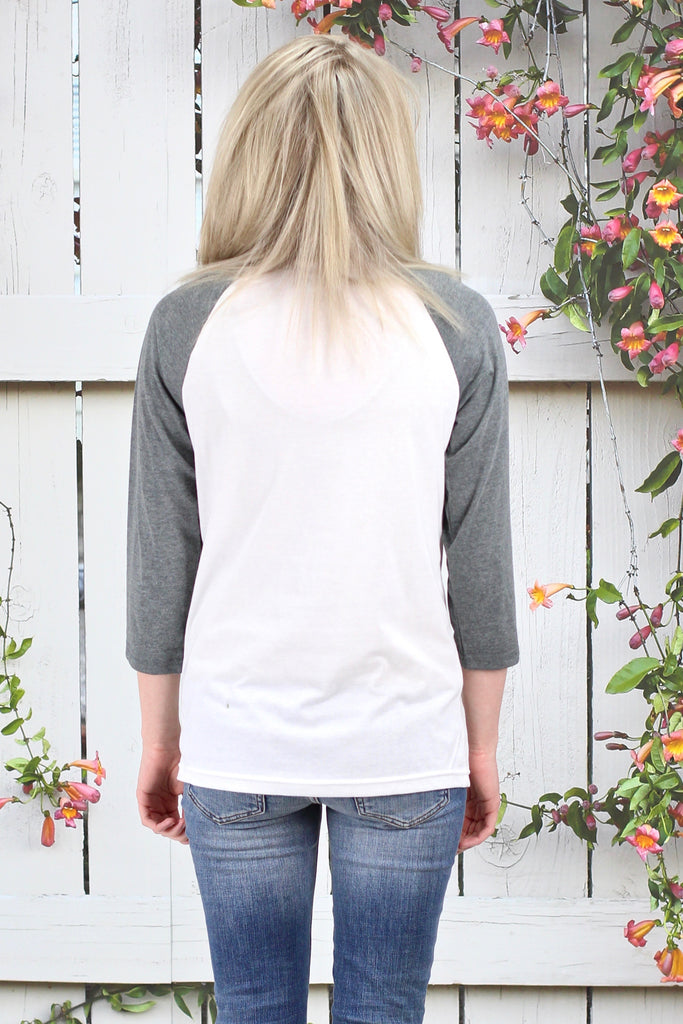 He is Risen Raglan {White + Grey}