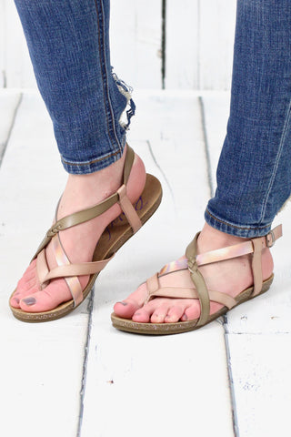 Hester Metallic Wedge Sandal {Pewter} - Size 10