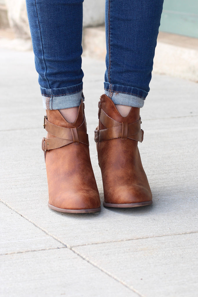 Kasper Ankle Wrap Heeled Booties {Tan} - The Fair Lady Boutique - 2