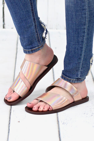 Not Rated: Rose Gold Carmel Flatform Sneaker Sandal