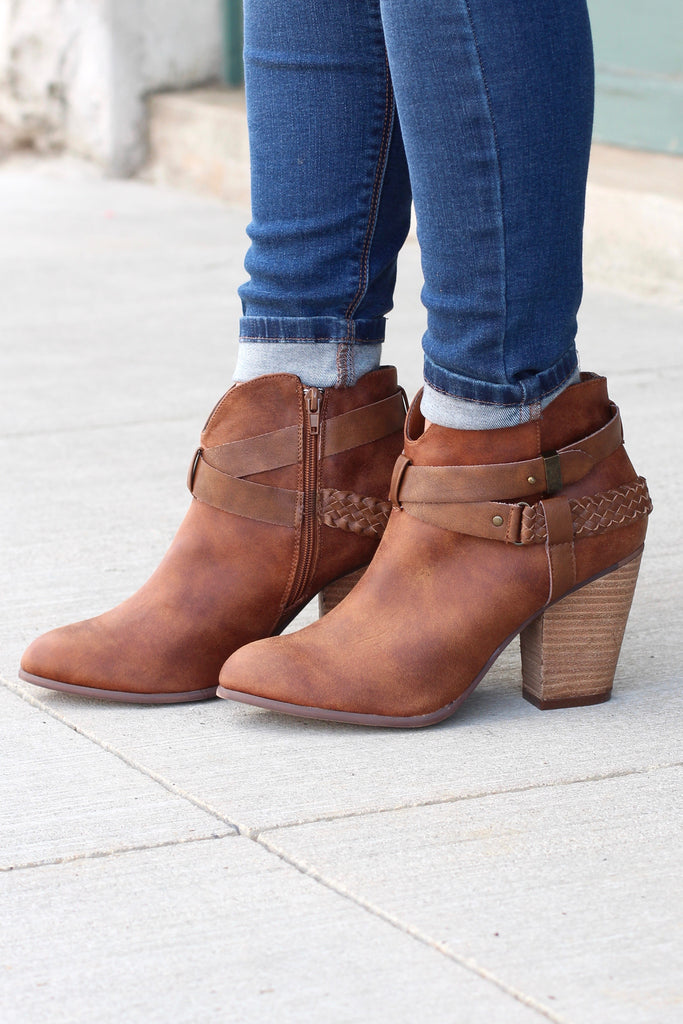 Kasper Ankle Wrap Heeled Booties {Tan} - The Fair Lady Boutique - 1