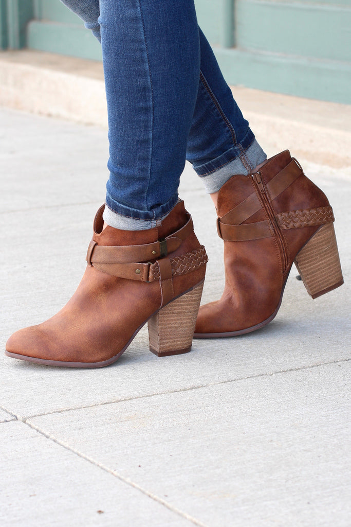 Kasper Ankle Wrap Heeled Booties {Tan} - The Fair Lady Boutique - 3