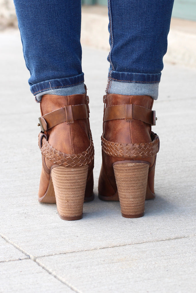 Kasper Ankle Wrap Heeled Booties {Tan} - The Fair Lady Boutique - 4
