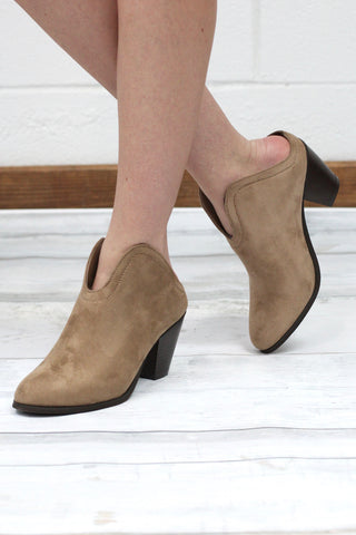 7db025a2f Slip On Suede Mule Bootie  Taupe