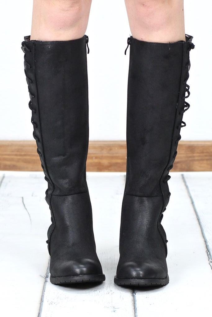 Very Volatile: Tabloid Side Corset Contrast Riding Boot {Black/Pewter}