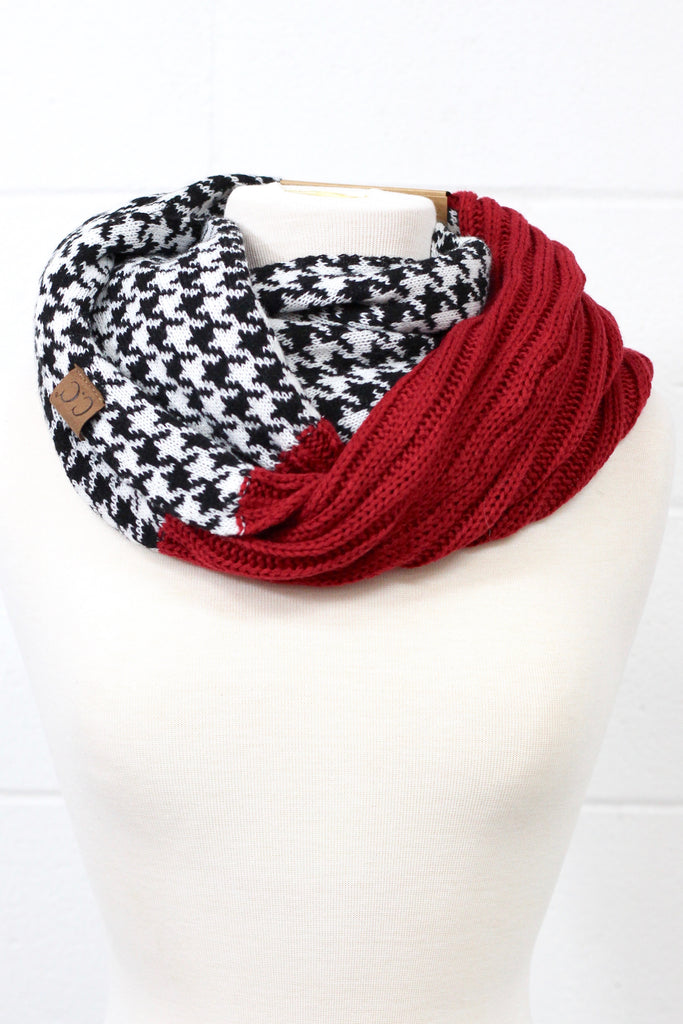 C.C. Knit w/ Houndstooth Infinity Scarf (MORE COLORS)