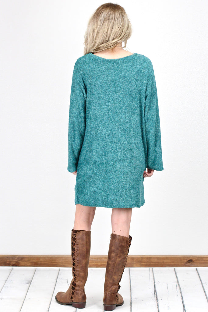 Oversized Terry Sweater Dress {Teal}