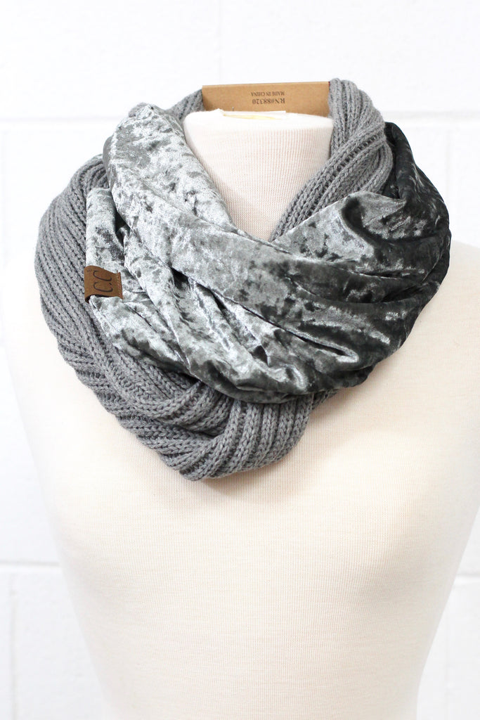 C.C. Knit + Crushed Velvet Infinity Scarf (MORE COLORS)