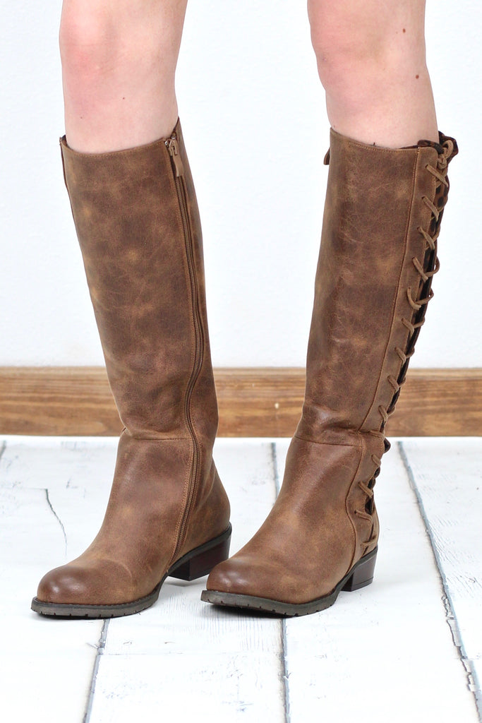 Very Volatile: Tabloid Side Corset Contrast Riding Boot {Tan/Leopard}