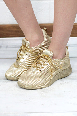 543cbb3531d8 Get Your Shine On Sporty Sneakers  Metallic Gold