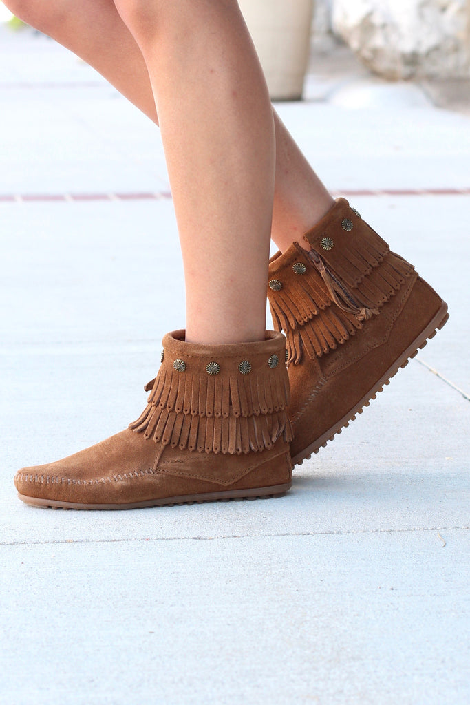 Minnetonka: Double Fringe Side Zip Bootie {Dusty Brown} - The Fair Lady Boutique - 1