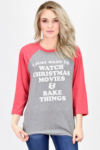Don't Stop Believing Vintage Santa Raglan {Grey/Red} - Size SMALL