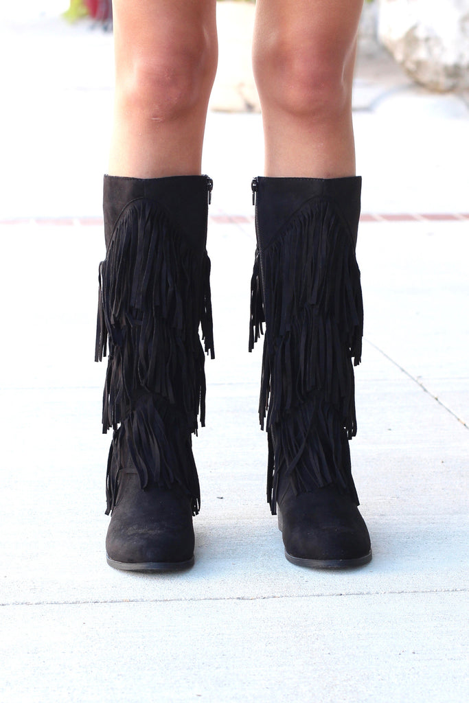 City Girl Layered Fringe Riding Boots {Black} - The Fair Lady Boutique - 2