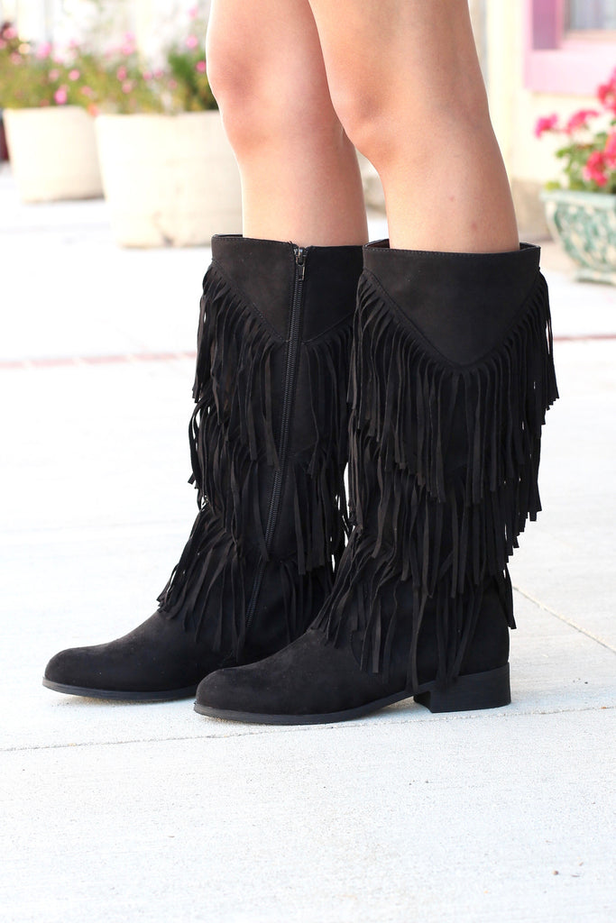 City Girl Layered Fringe Riding Boots {Black} - The Fair Lady Boutique - 1