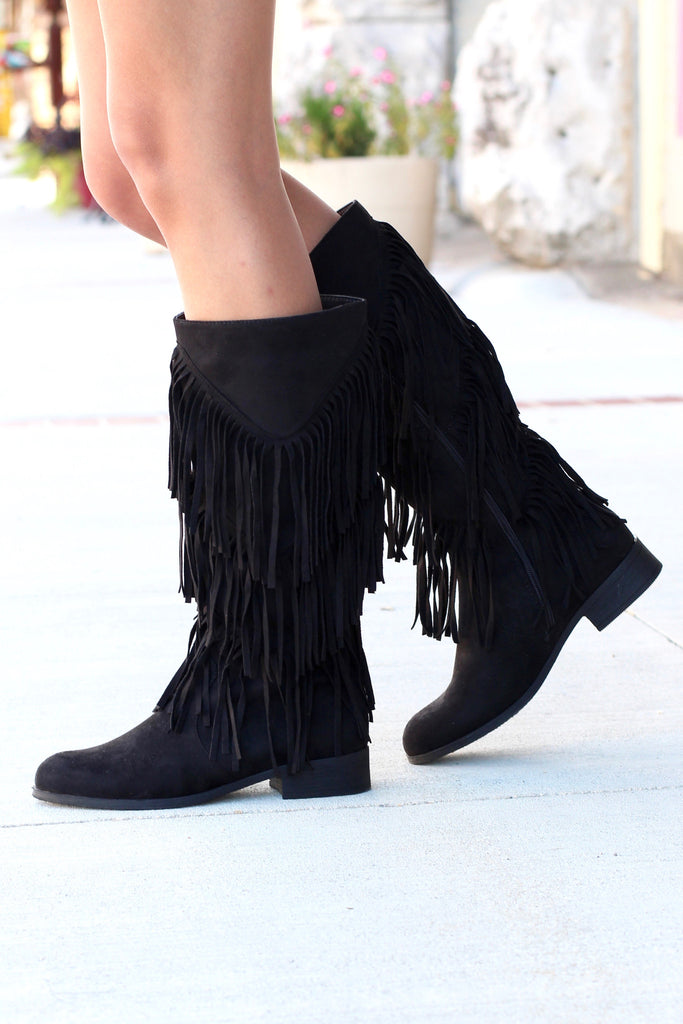 City Girl Layered Fringe Riding Boots {Black} - The Fair Lady Boutique - 3