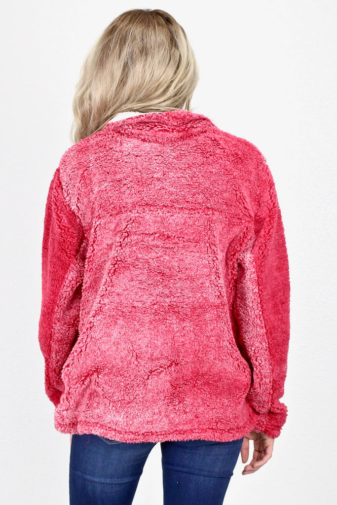 Luxury Quarter Zip Frosted Sherpa w/ Pockets {Deep Red}