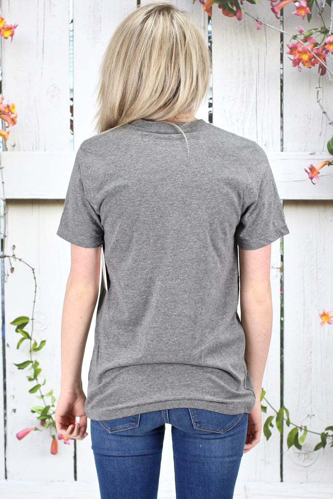 Calamity Janes: Baseball Mom Floral Print V-neck {Grey}
