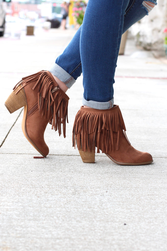 Not Rated: Auriga Fringe + Chain Suede Booties {Tan} - The Fair Lady Boutique - 1