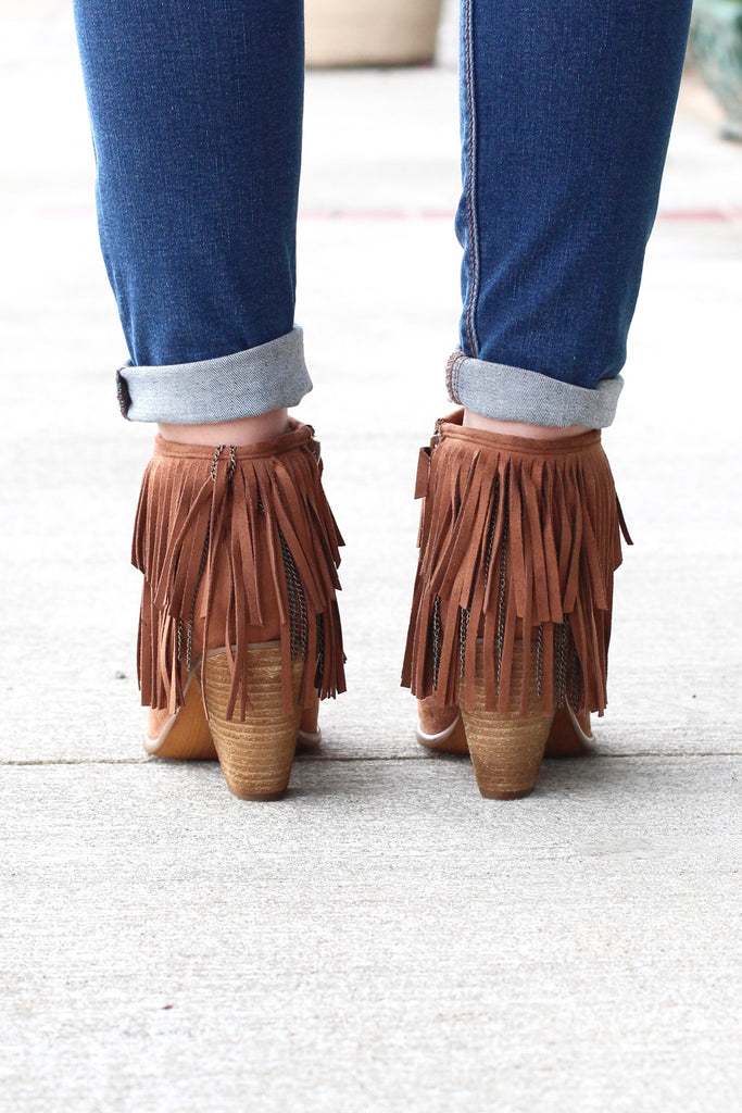Not Rated: Auriga Fringe + Chain Suede Booties {Tan} - The Fair Lady Boutique - 3