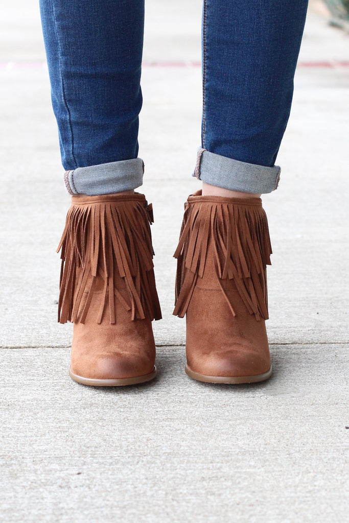 Not Rated: Auriga Fringe + Chain Suede Booties {Tan} - The Fair Lady Boutique - 4