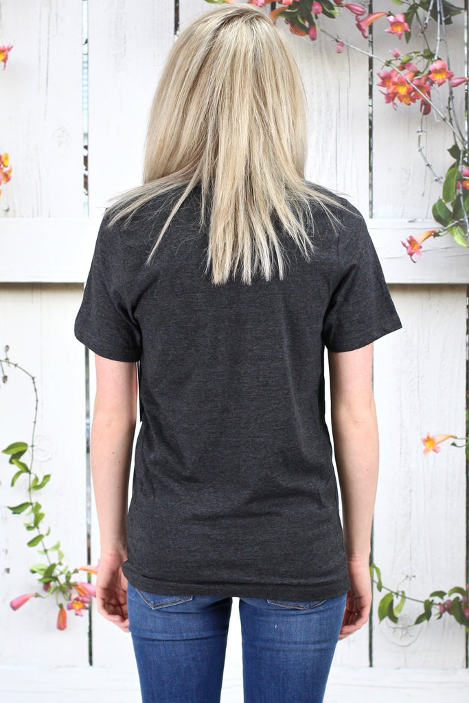 Calamity Janes: Outta the Park Floral Accent V-neck {Charcoal}