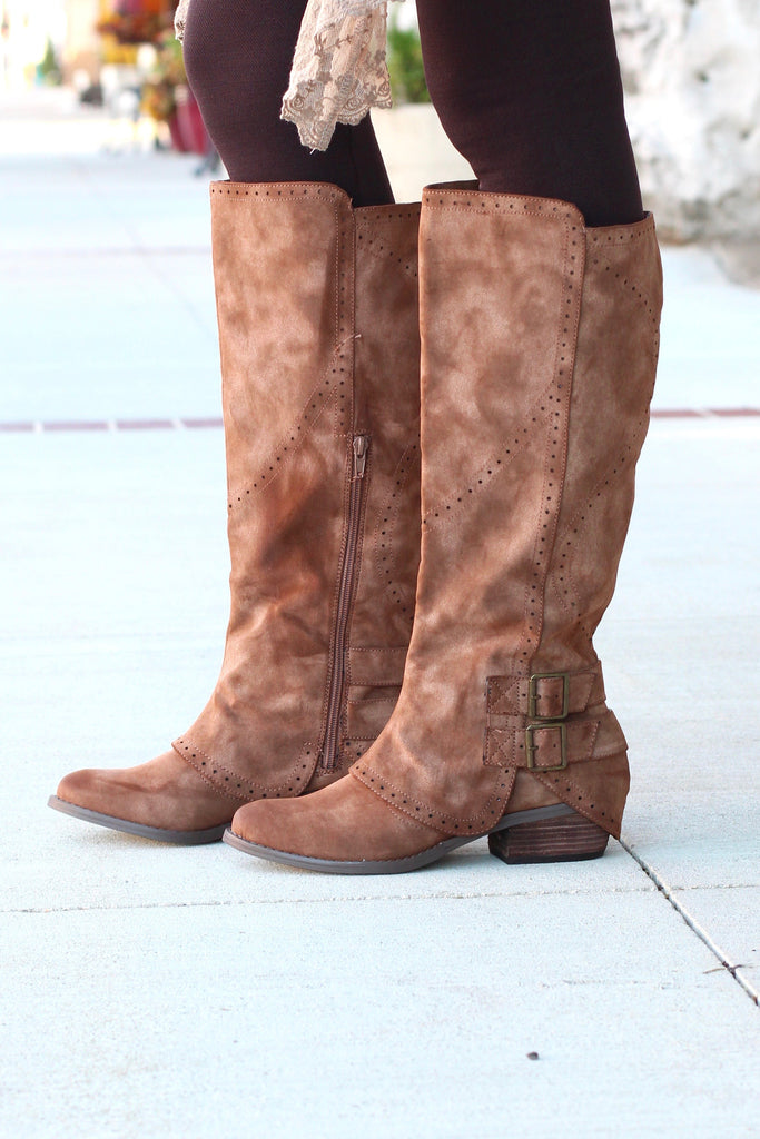 Not Rated: Blaire Riding Boots {Brown} - The Fair Lady Boutique - 1