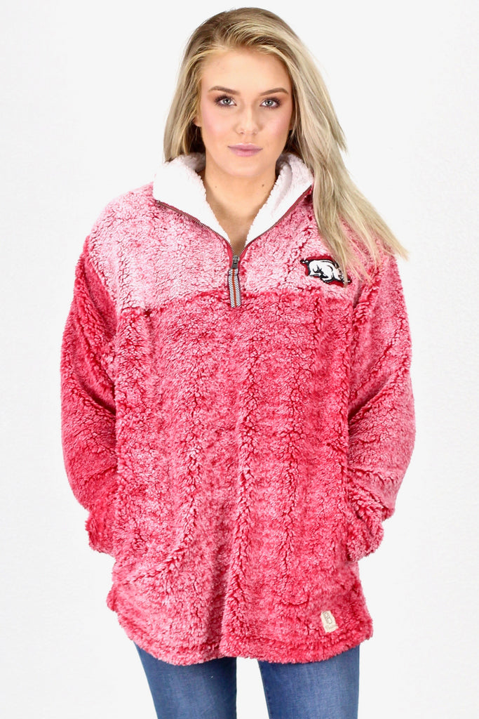 Luxury Quarter Zip Arkansas Razorback Frosted Sherpa {Deep Red}