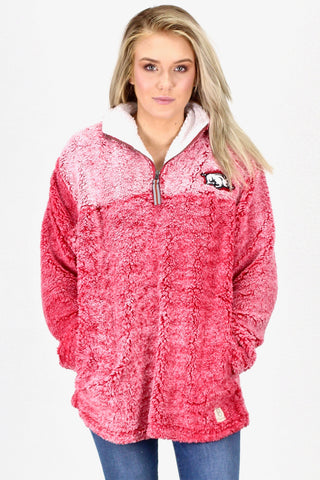 Luxury Quarter Zip Arkansas Razorback Frosted Sherpa {Ash}