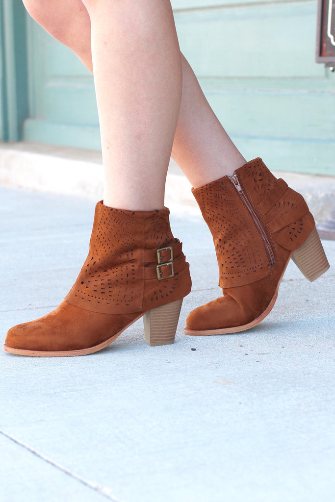 Denny Perforated Suede Bootie {Tan} - The Fair Lady Boutique - 1