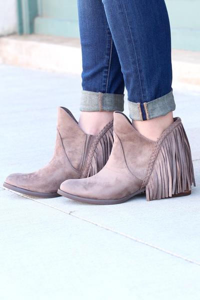Not Rated: Braxton Fringe Back Booties {Beige}