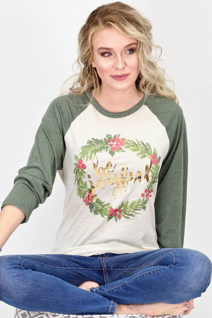 Be Joyful Wreath Raglan {Oat/Moss Green}