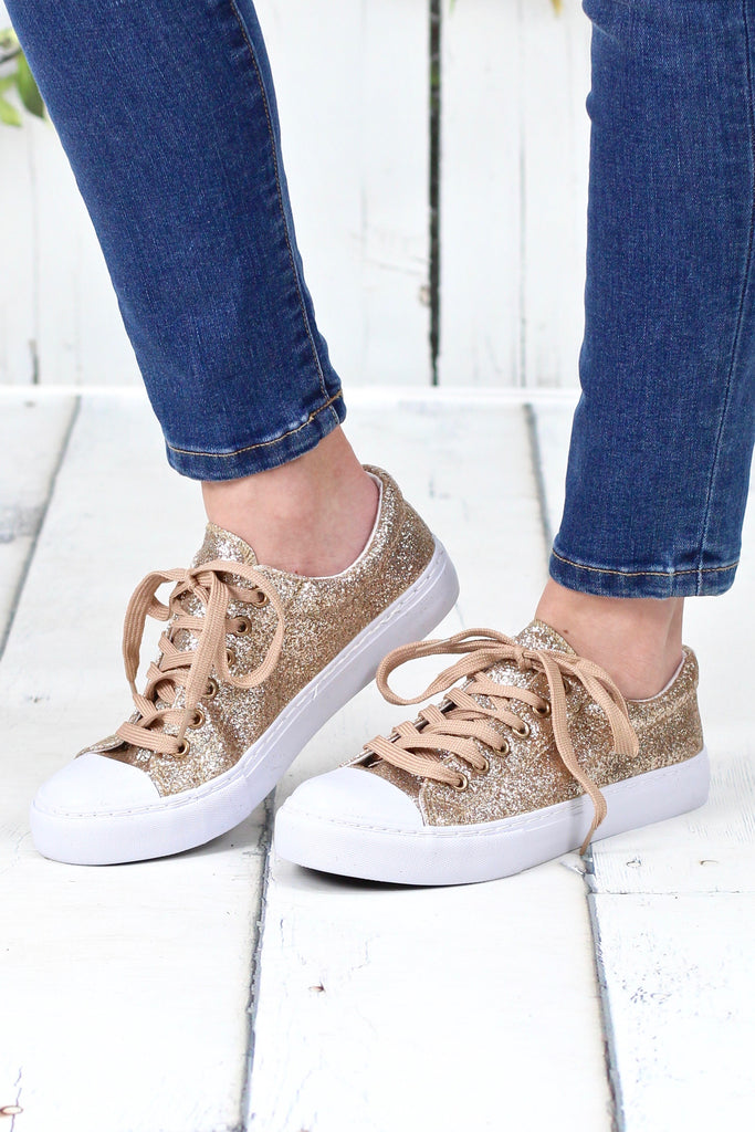 Sparkle + Shine Morgan Glitter Sneakers {Gold}