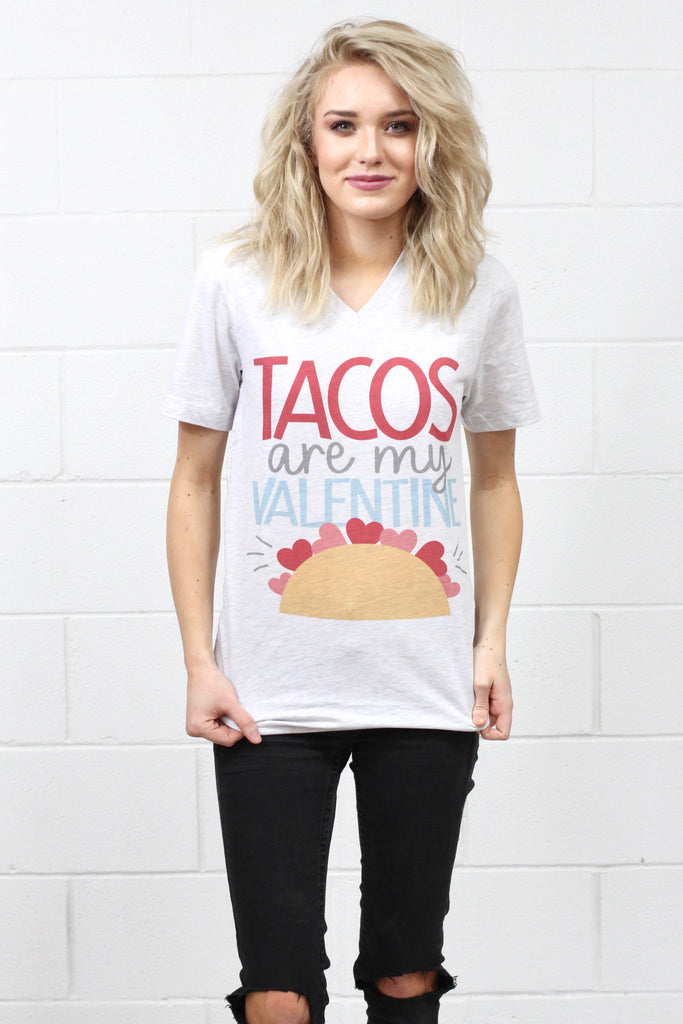 Tacos are My Valentine V-neck Tee {Ash} - Size MEDIUM