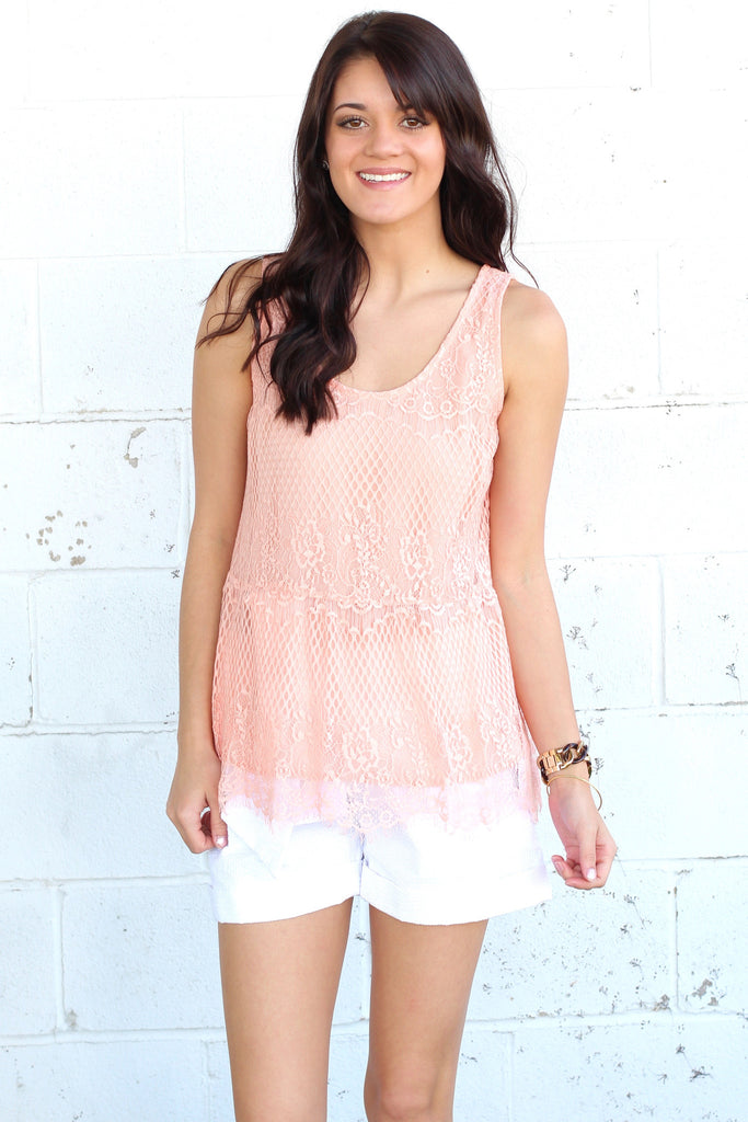 Lace Relaxed Peplum Tank {Peach} - The Fair Lady Boutique - 1