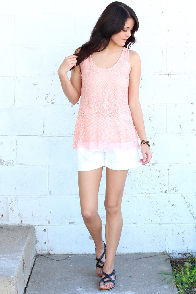 Lace Relaxed Peplum Tank {Peach} - The Fair Lady Boutique - 2