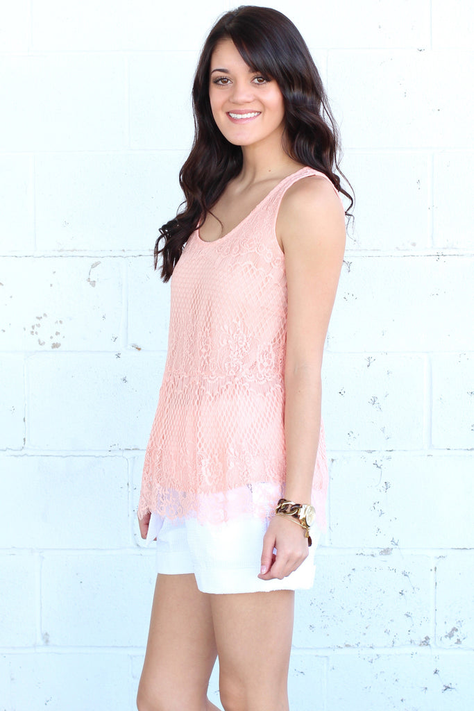 Lace Relaxed Peplum Tank {Peach} - The Fair Lady Boutique - 3