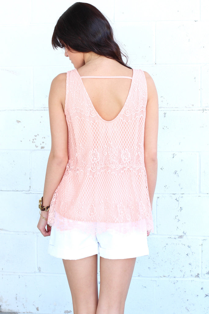 Lace Relaxed Peplum Tank {Peach} - The Fair Lady Boutique - 4