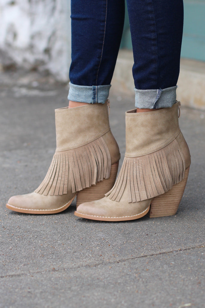 Very Volatile: Khloe Fringe Bootie {Beige} - The Fair Lady Boutique - 1