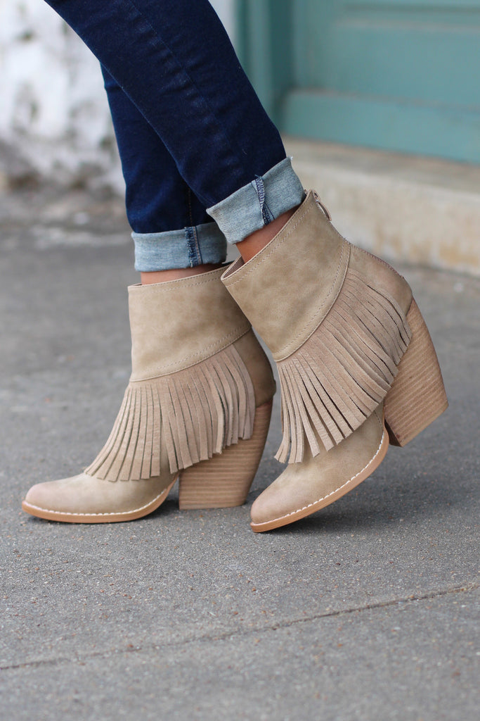 Very Volatile: Khloe Fringe Bootie {Beige} - The Fair Lady Boutique - 2