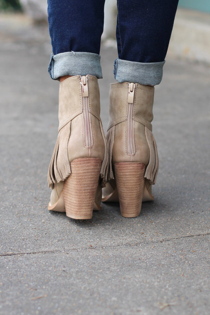 Very Volatile: Khloe Fringe Bootie {Beige} - The Fair Lady Boutique - 3