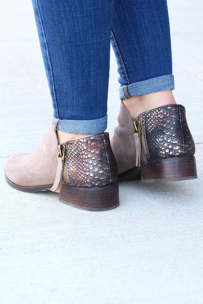 Very Volatile: Greyson Snake Embossed Suede Bootie {Taupe} - The Fair Lady Boutique - 2