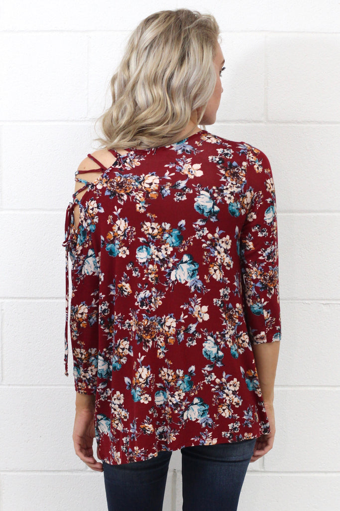 Tied Up Floral w/ Lace-Up Shoulder {Burgundy}
